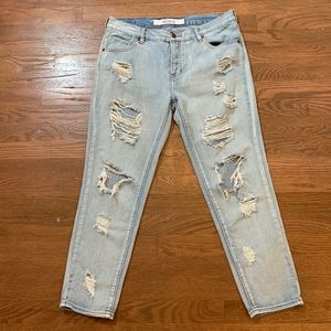 Brandy Melville Distressed Crop Jeans Button Fly